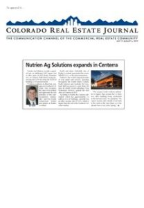 """""""Nutrien Ag Solutions expands in Centerra,"""" CREJ, July 17-Aug 6, 2019."""